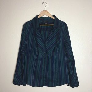 Lane Bryant Blue And Green Button Down Blouse